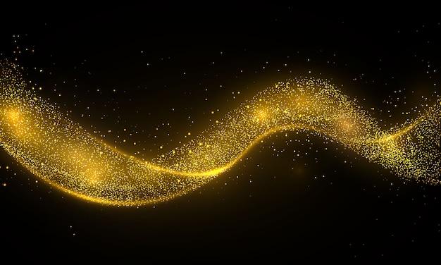 彗星トレースの黄金の輝き波。透明な背景にスターダストトレイル輝く粒子。