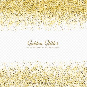 Golden glitter with transparent background
