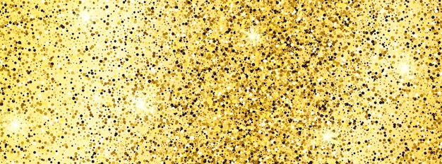Golden glittering background with gold sparkles and glitter effect. banner design. empty space for your text.  vector illustration