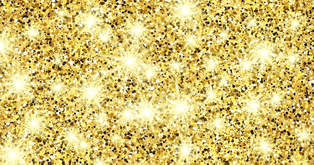 Golden glittering background with gold sparkles and glitter effect. banner design. empty space for your text.  vector illustration Premium Vector