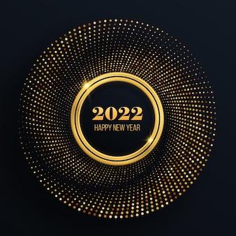 豪華な光るドットが付いた金色のきらびやかなフレームグラフィックデザインのお祝いサークル年賀状2022