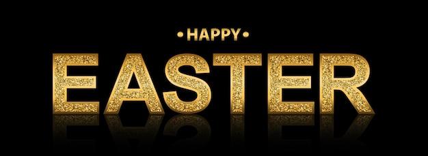 Golden glittering lettering 'happy easter'
