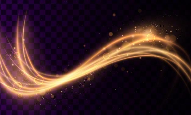 金の粒子が分離された金色のきらびやかな魔法の波