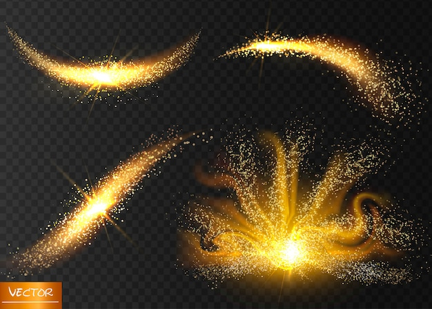 Golden glittering magic waves with gold particles