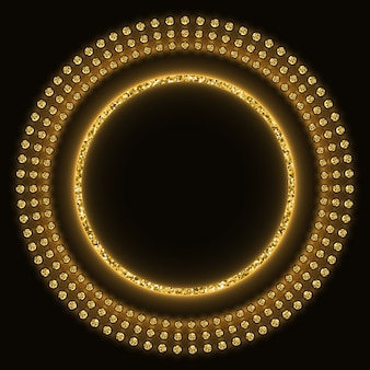 Golden glittering round background