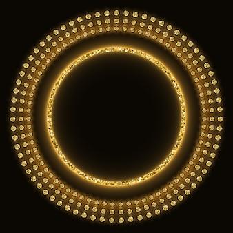 Golden glittering round background