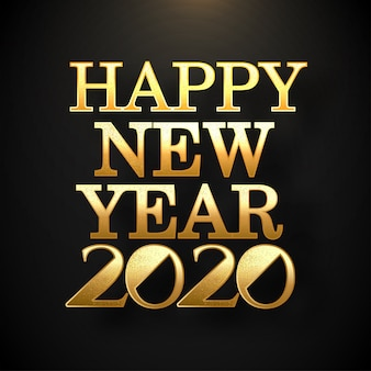 Golden glittering text happy new year 2020 on black   greeting card .