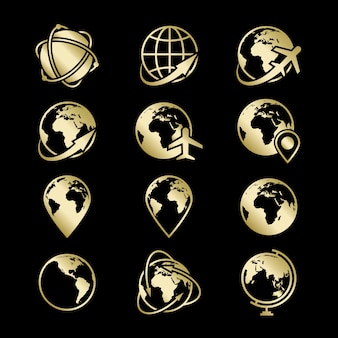 Golden globe earth icons collection on black backdrop