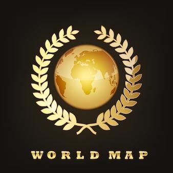 Golden globe earth.  illustration