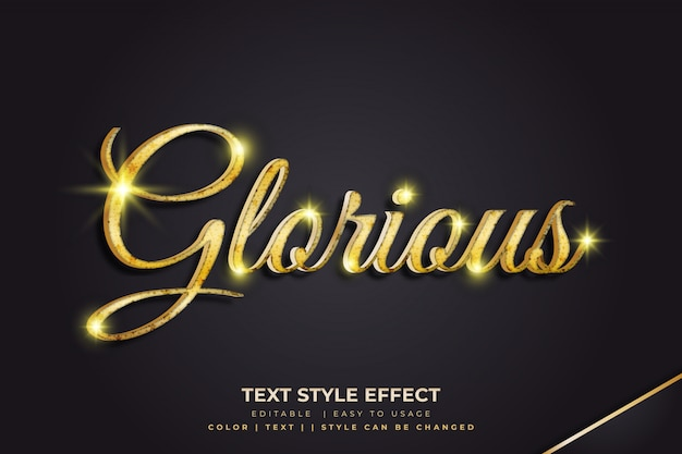 Golden glorious 3d text style effect