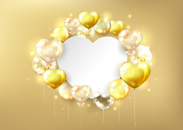 Golden glossy balloons background and white copy space in heart shape