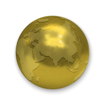 Golden glossy earth globe icon isolated