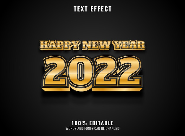 Golden glossy luxury happy new year 2022 text effect