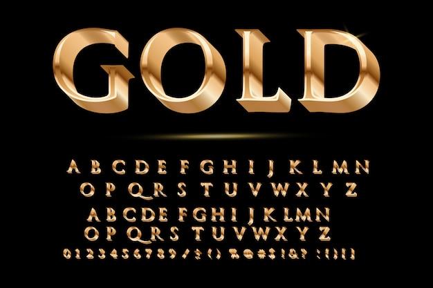 Golden glossy vector font or gold alphabet