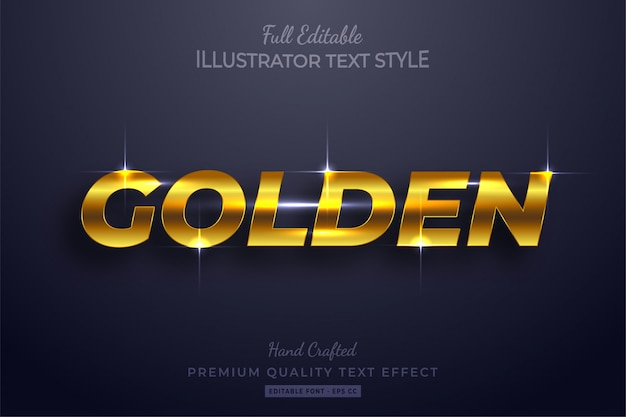 Golden glow editable 3d text effect