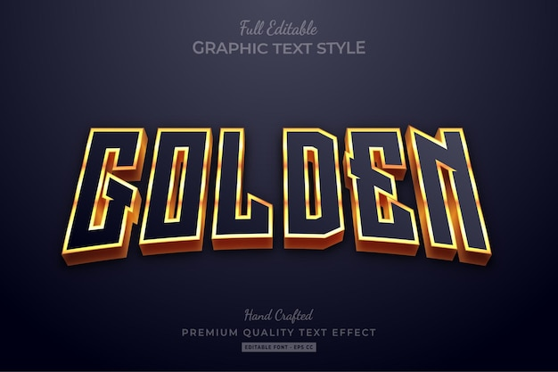 Golden glow editable text effect font style