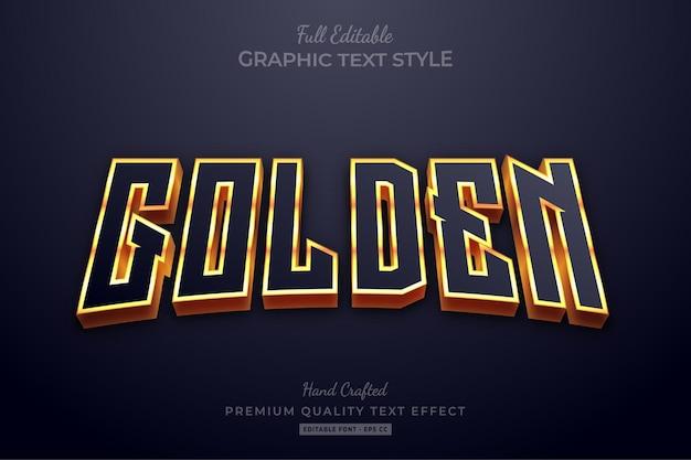 Стиль шрифта с редактируемым текстовым эффектом golden glow