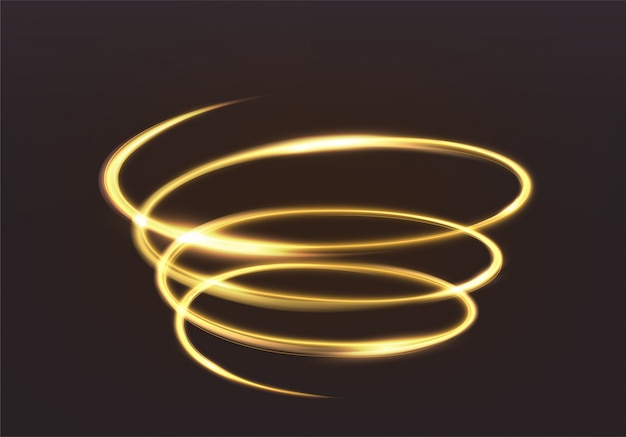 Golden glowing light, the magic brilliance of sparkling wave lines. spiral shiny flash on dark