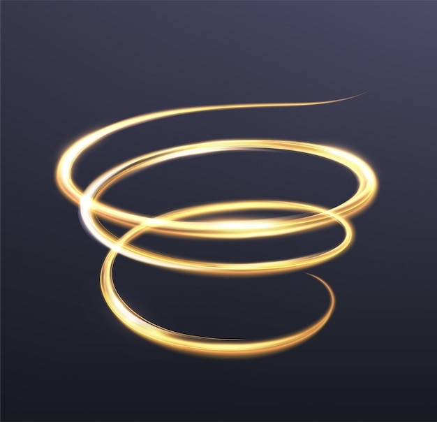 金色に輝く光、きらめく波のラインの魔法の輝き。ダークブルーのスパイラルシャイニーフラッシュ
