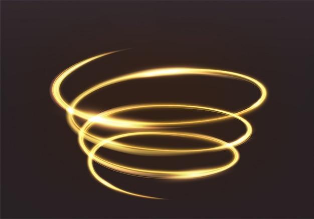 Золотой мерцающий свет, волшебное сияние сверкающих волновых линий. спиральная блестящая вспышка на темноте