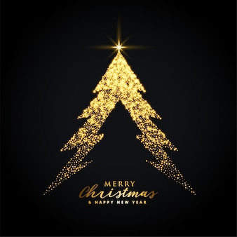 Golden glowing merry christmas tree background