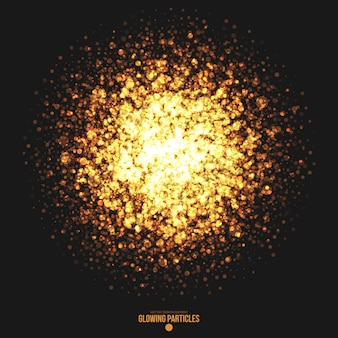 Golden glowing round particles vector background