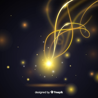 Golden glowing spiral light line