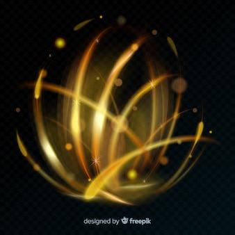Golden glowing spiral light line