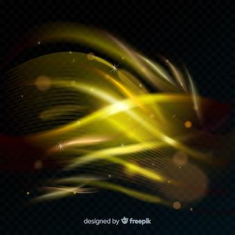 Золотая светящаяся спиральная линия света