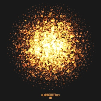 Golden glowing square particles  background