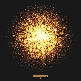 Golden glowing triangle particles vector background