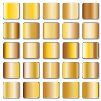 Golden gradient collection isolated on white
