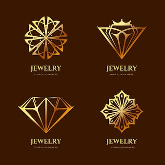 Golden gradient jewelry logo collection