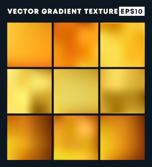 Golden gradient texture background set
