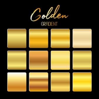Golden gradients set   illustration  on black bakground