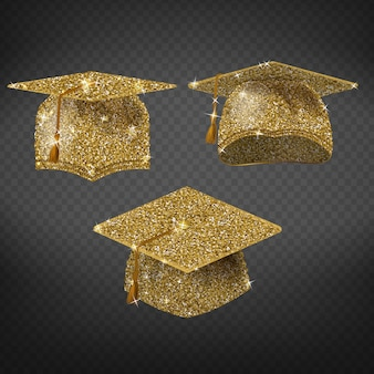 Golden graduation cap, shining symbol of education in university or college.