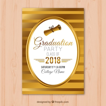 Golden graduation party invitation