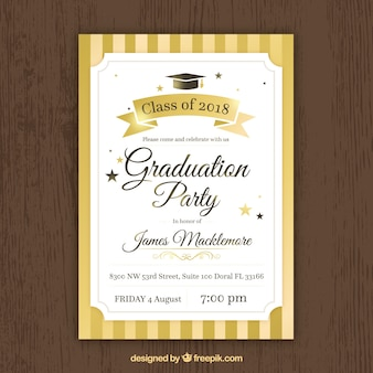 Golden graduation party invitation