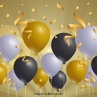 Golden, gray and black balloons background to celebrate