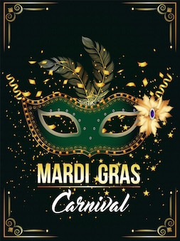Golden and green mask for carnival party
