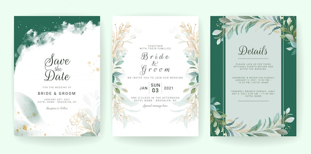 Golden greenery wedding invitation template set with leaves, glitter, and border.