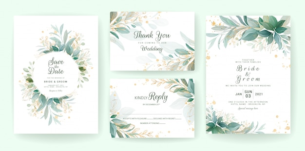 Golden greenery wedding invitation template set with leaves, glitter, frame, and border.