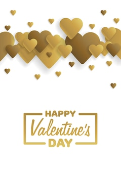 Golden greeting card happy valentine's day. lettering with hearts on the background. vector illustration.