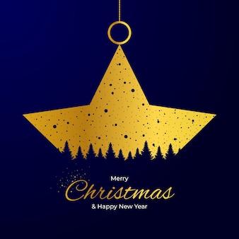 ゴールデングリーティングカードメリークリスマスと新年あけましておめでとうございます