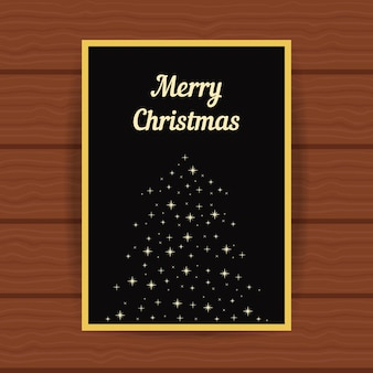 Golden greeting card with fir tree from sparks. concept of marry cristmas card, headline, glitter decor, booklet cover, festival decorative, party placard. flat style modern design vector illustration
