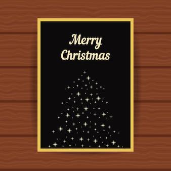 火花からのモミの木と黄金のグリーティングカード。結婚クリスマスカード、見出し、キラキラの装飾、小冊子の表紙、お祭りの装飾、パーティーのプラカードの概念。フラットスタイルのモダンなデザインのベクトル図