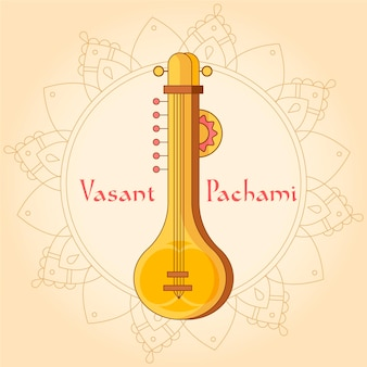 Golden guitar instrument hand drawn happy saraswati