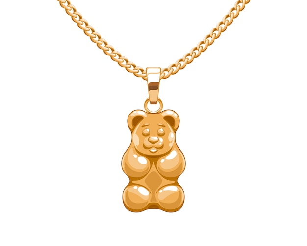 Golden gummy bear pendant on chain. jewelry .