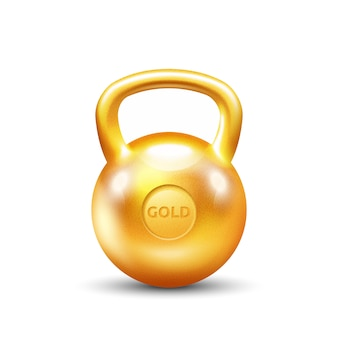 Golden gym kettlebell on white background