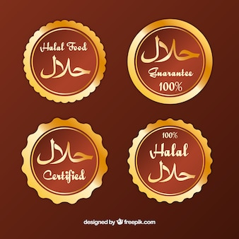 Golden halal label collection with flat design